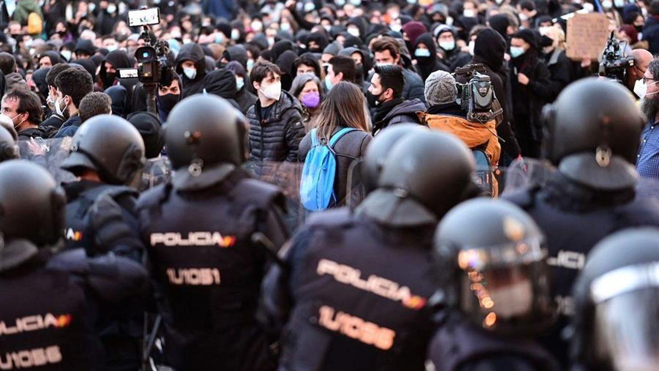 Disuelta la marcha no autorizada a favor de Hasél en Madrid