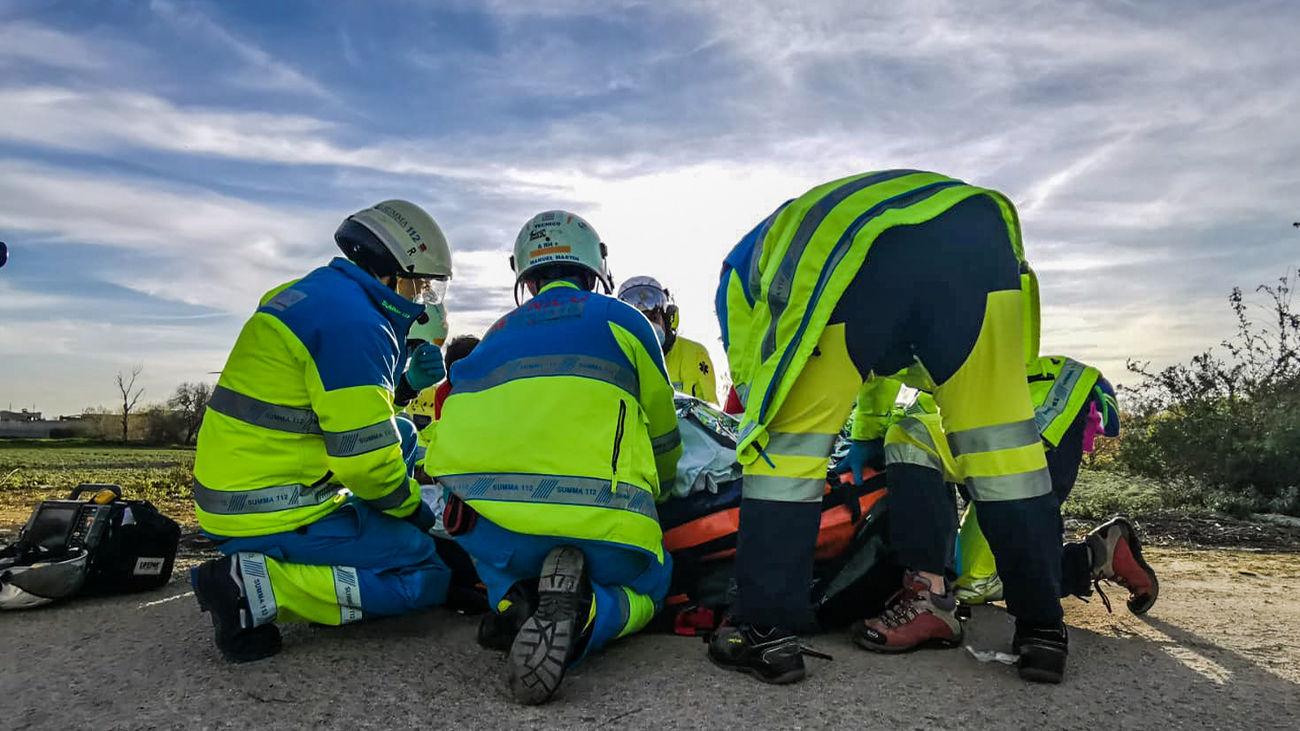 Asistencia a un motorista accidentado en Getafe