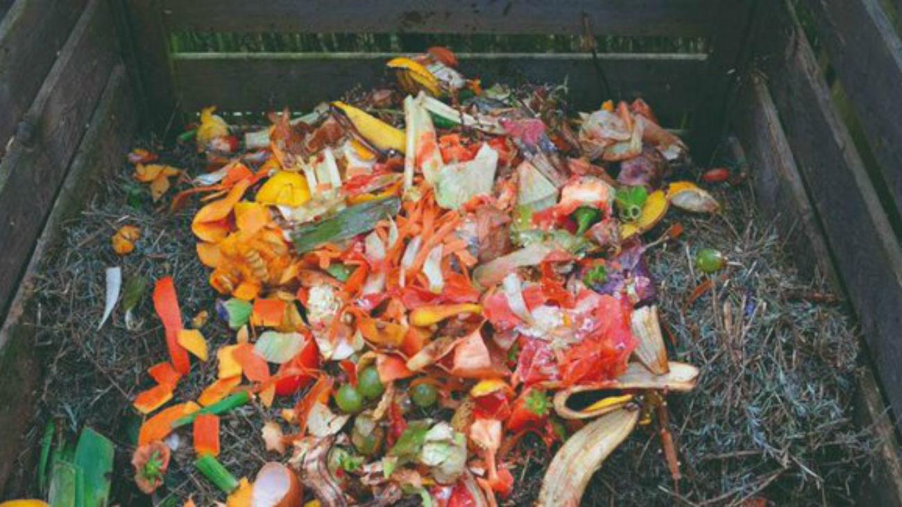 Interior de un contenedor para producir compost