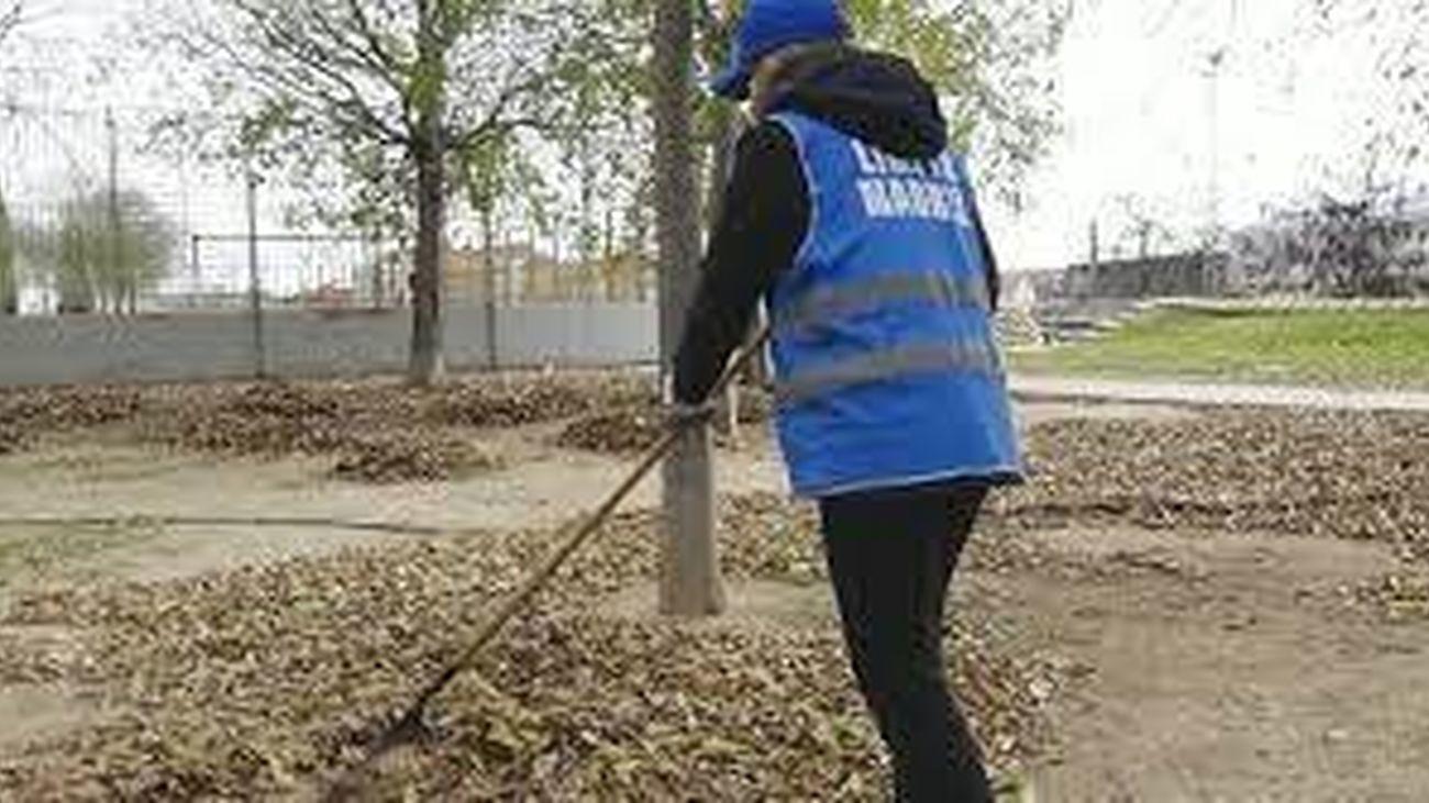 Una persona limpia un parque para conmutar la multa impuesta