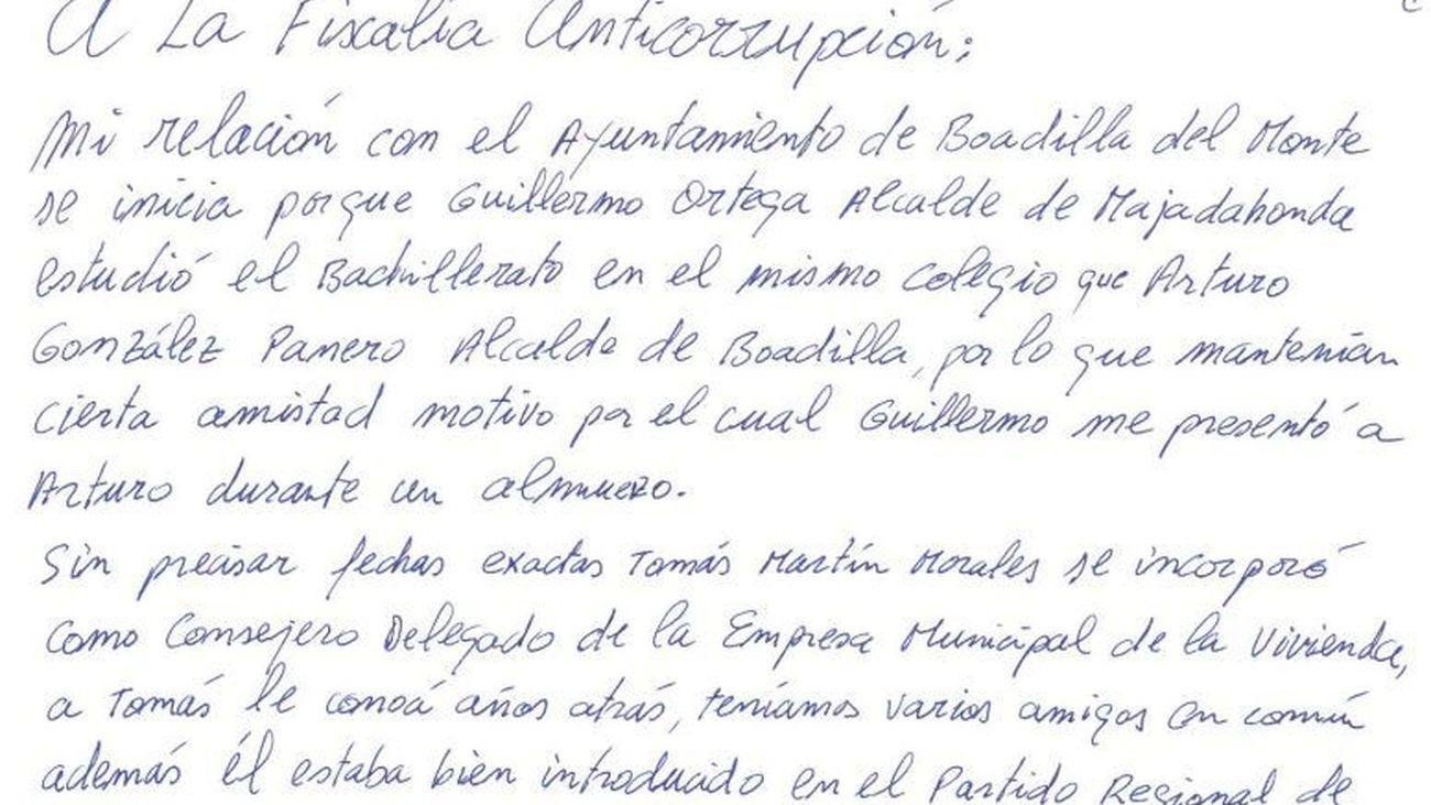 Carta de Francisco Correa a la Fiscalía Anticorrupción