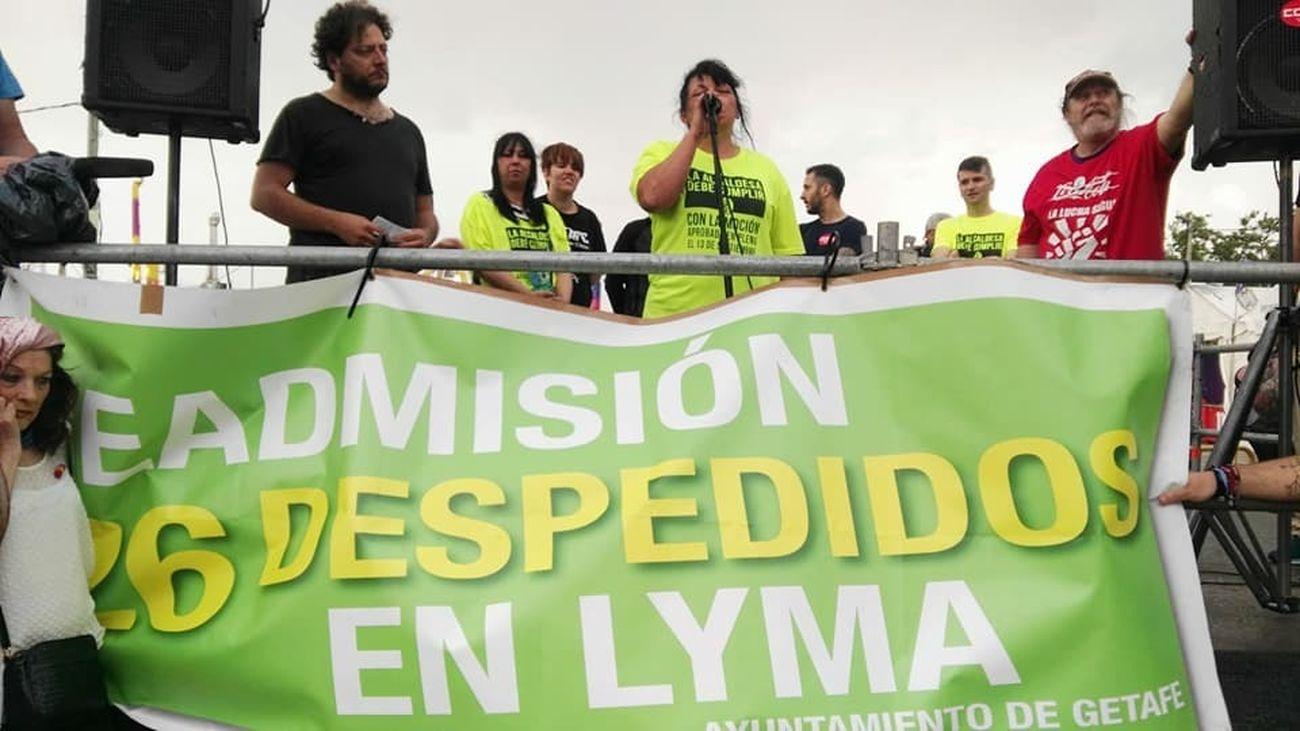 Acto de protesta de los trabajadores despedidos de LYMA en Getafe