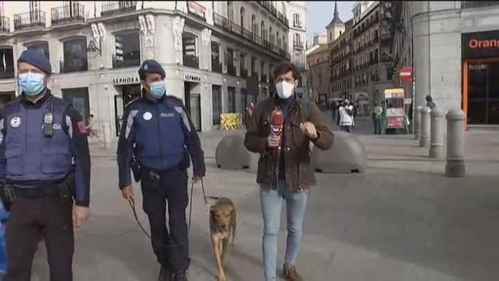 Acompañamos a la Policía Municipal y su unidad canina en el dispositivo de control de aglomeraciones en el centro