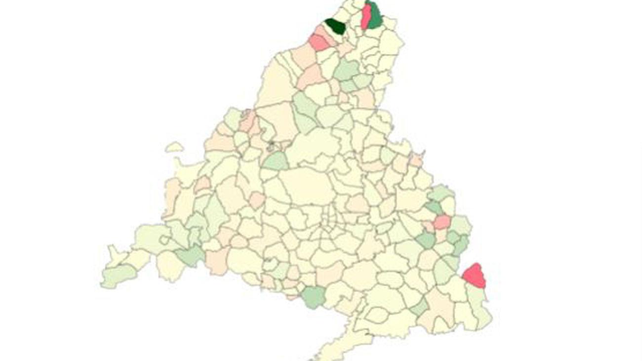 Mapa de colores de Madrid que reflejan dónde sube y baja el coronavirus