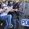 Lanzamiento de objetos y cargas policiales en los altercados por el mitin de Vox en Vallecas