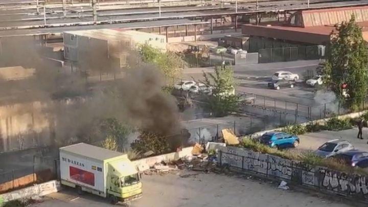 Incendio en un asentamiento ilegal en Chamartín