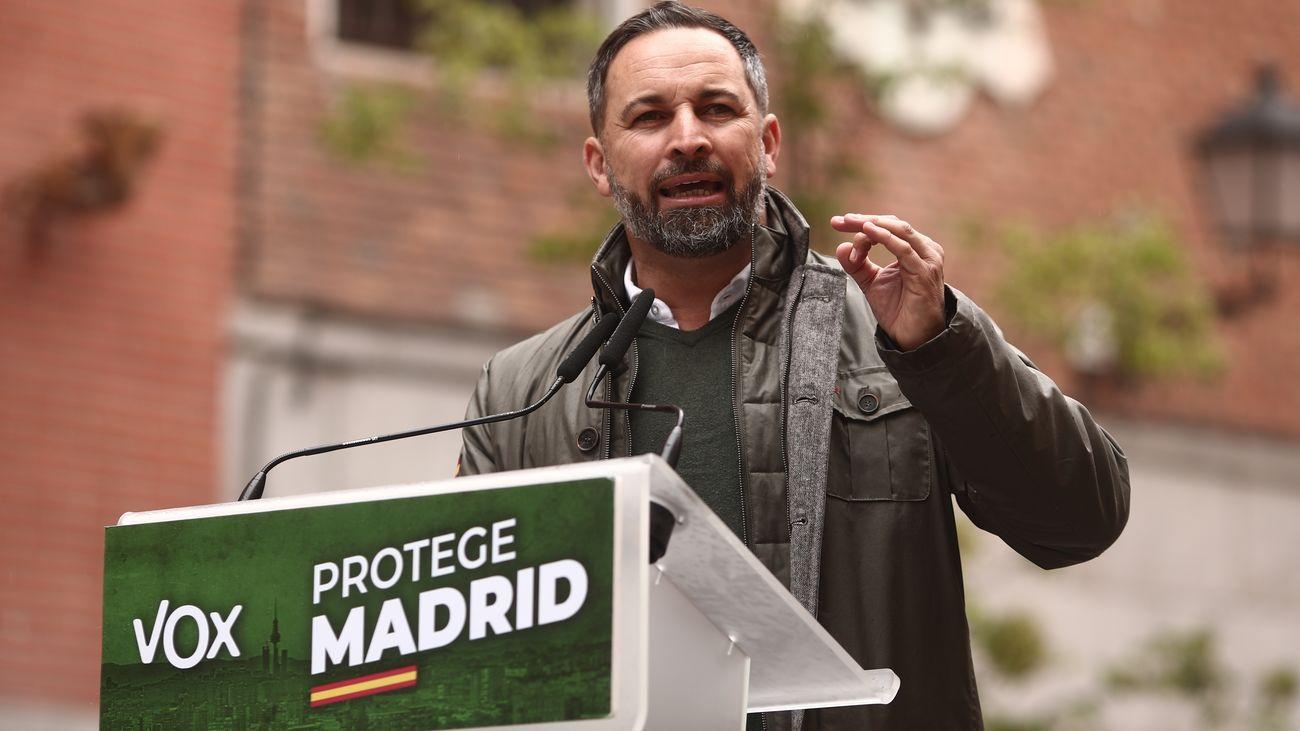 Santiago Abascal, líder de Vox, este viernes en La Latina