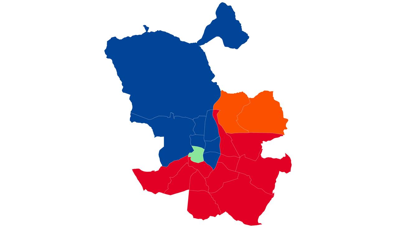 El mapa de los distritos de Madrid en las elecciones autonómicas de 2019