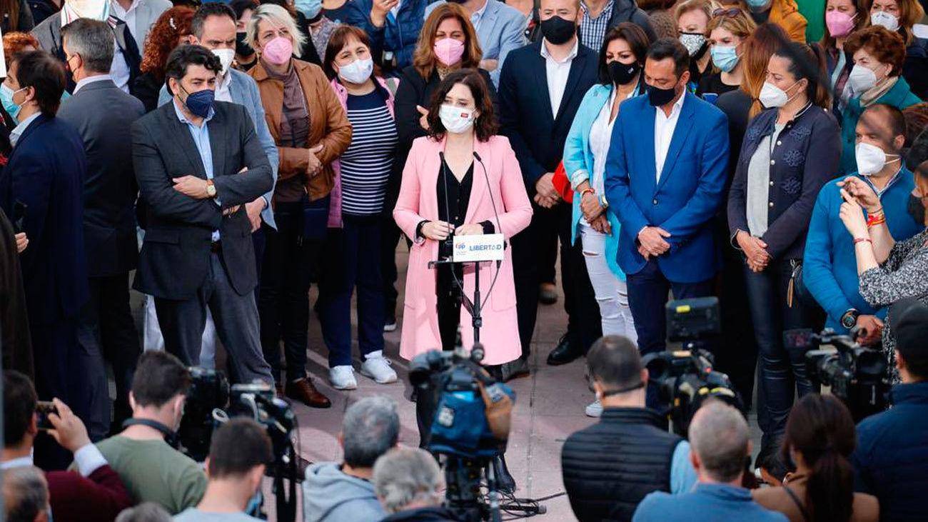 Isabel Díaz Ayuso durante un acto electoral en Parla