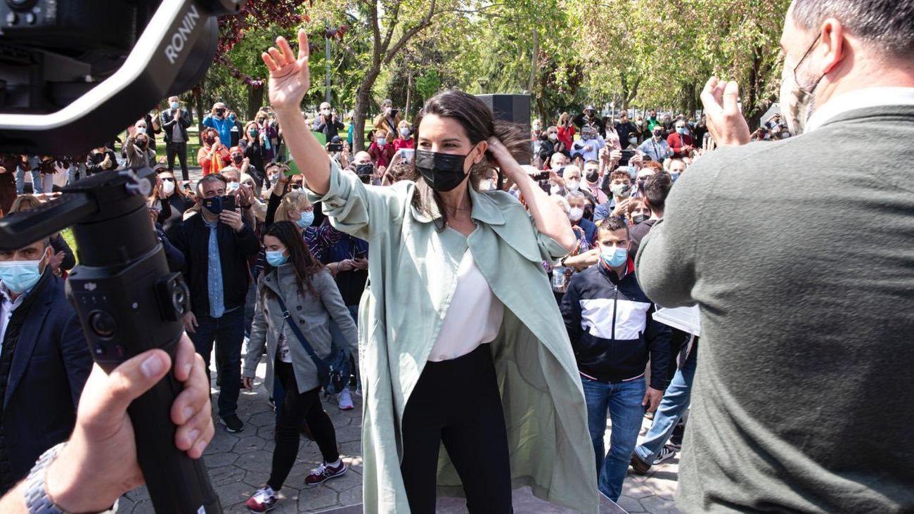 Rocío Monasterio, candidata de Vox, durante un acto de precampaña en Alcorcón, este viernes