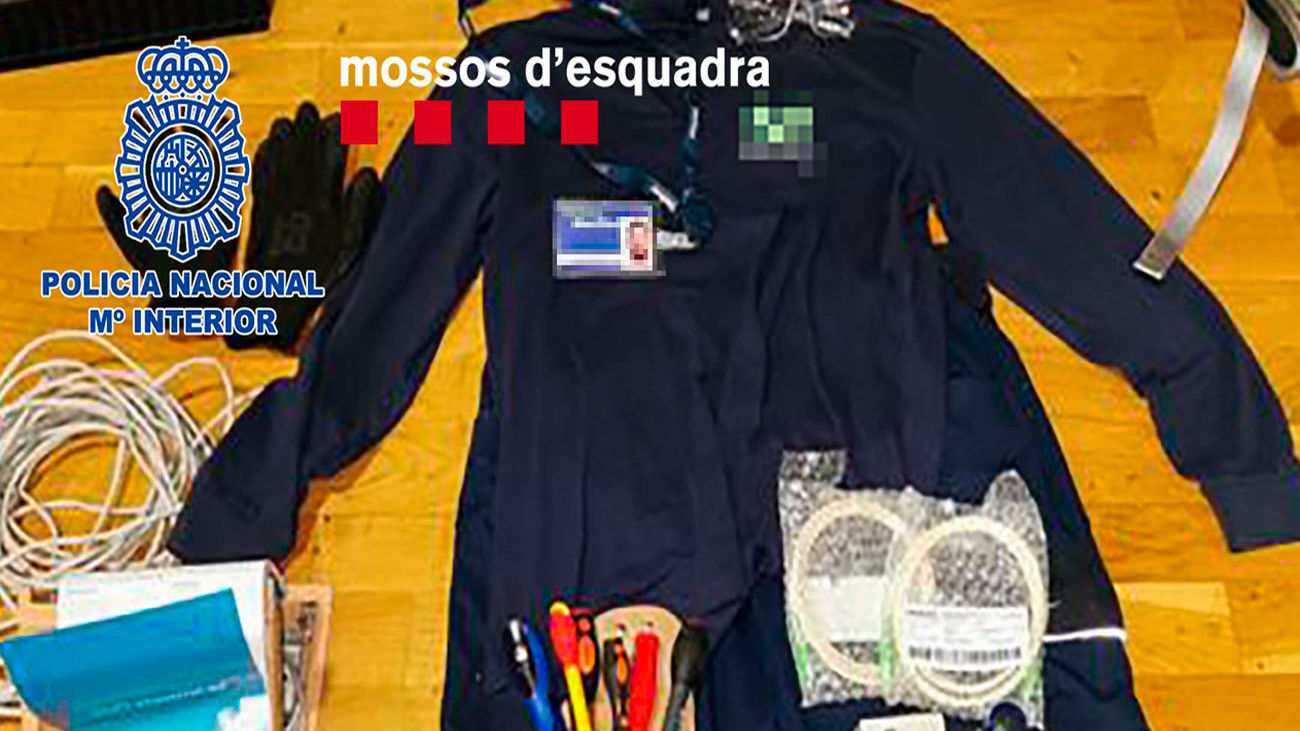 Material intervenido en la operación policial