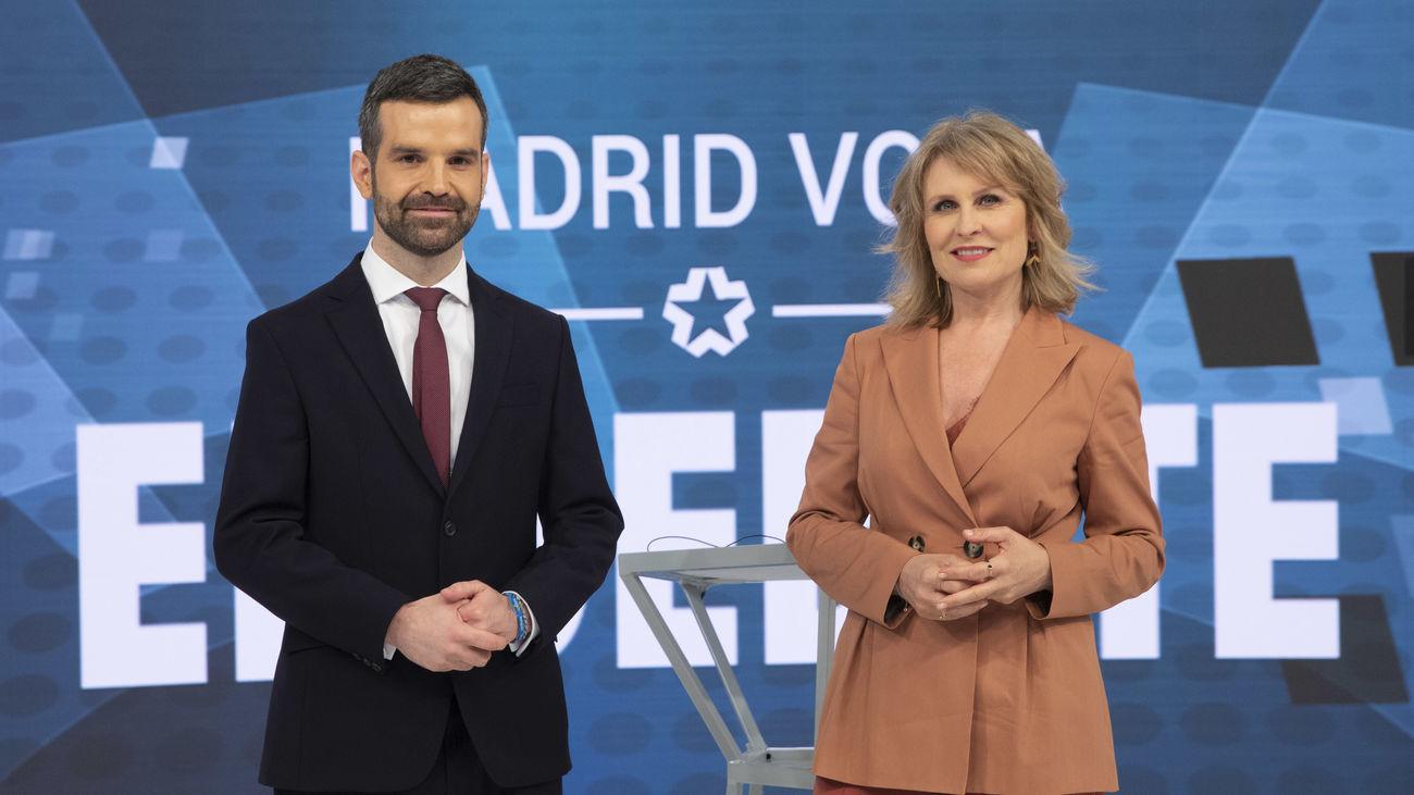 María Rey y Jon Ariztimuño conducirán el debate electoral en Telemadrid este miércoles 21 de abril