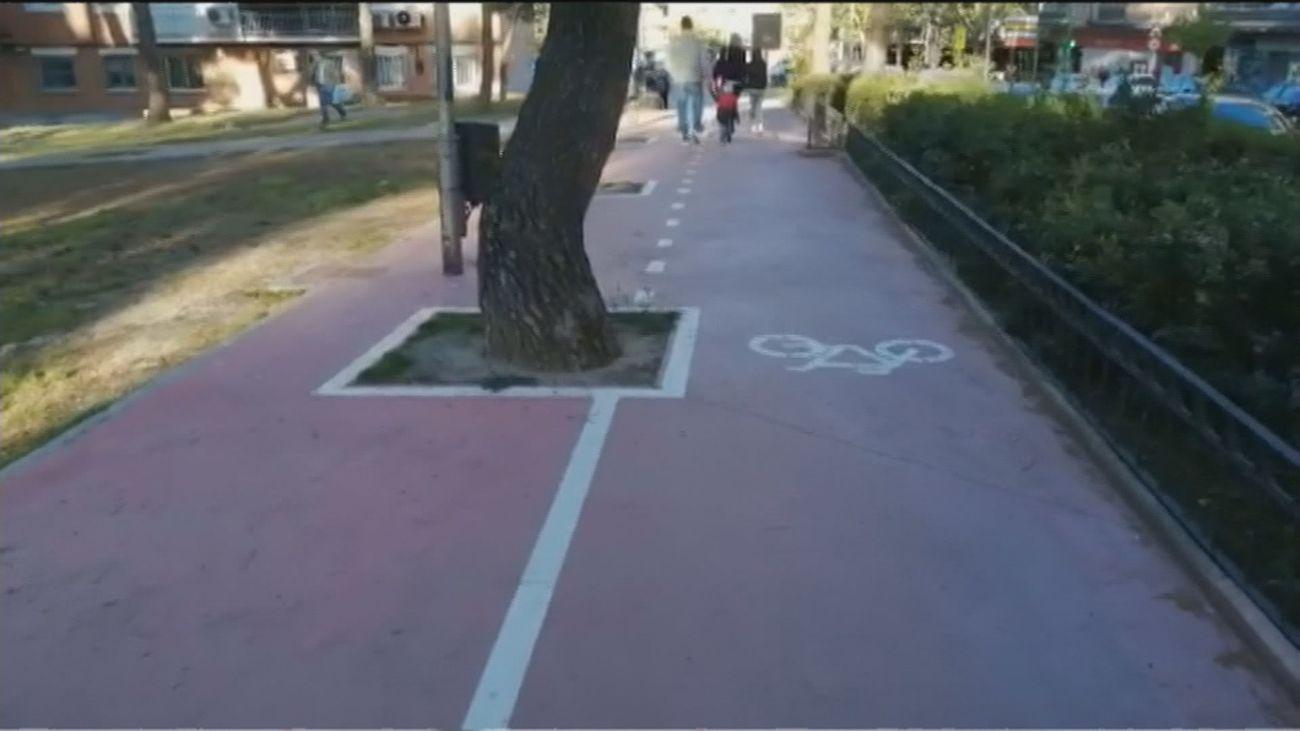 Árboles, farolas y bancos,  en medio de un peligroso carril bici en Coslada