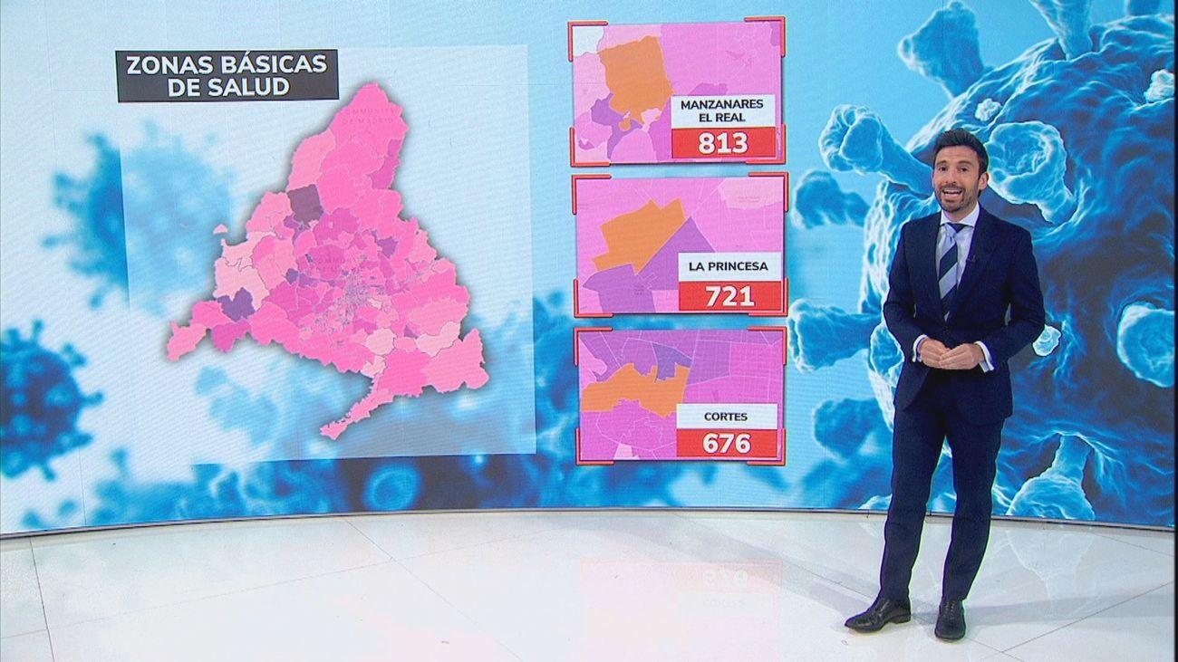 Manzanares El Real, La Princesa en Móstoles y Cortés en la capital las zonas con más contagios