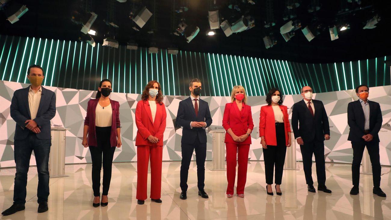 Foto de familia del debate a seis en Telemadrid