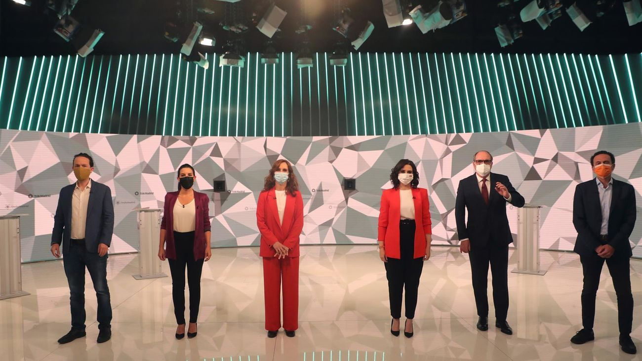 Los seis candidatos, en el debate de Telemadrid
