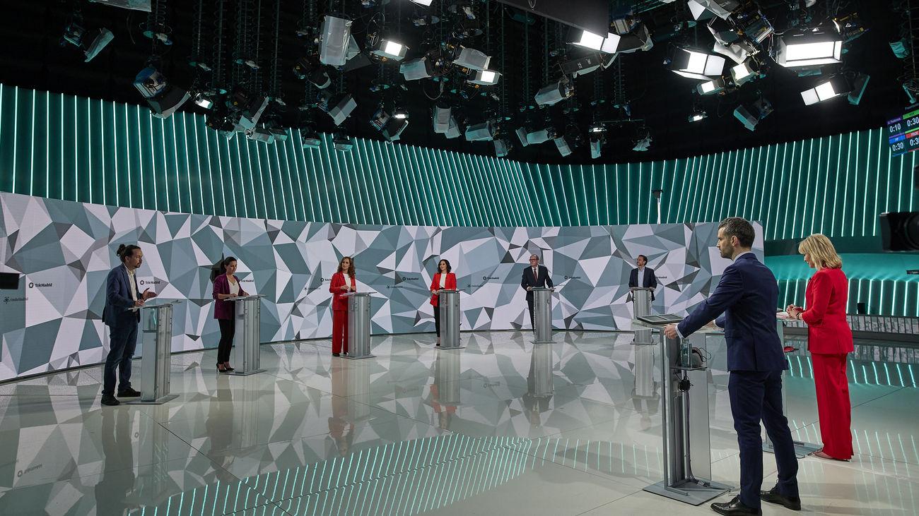 El debate a seis de Telemadrid alcanza el 36,4% de share y lidera la audiencia en Madrid