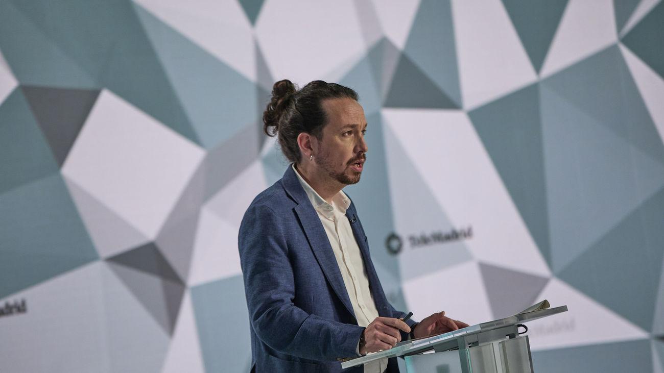El candidato de Podemos, Pablo Iglesias, durante el debate electoral en Telemadrid