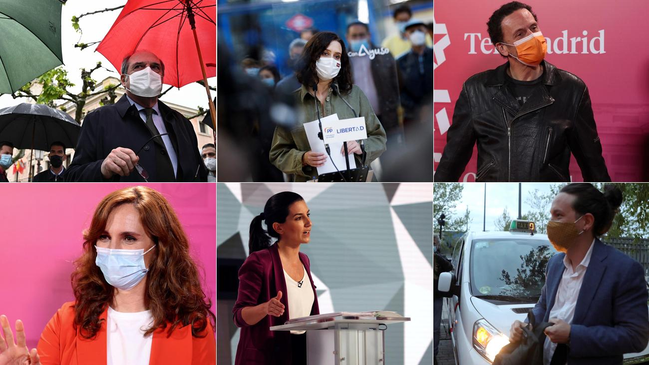 Los principales candidatos en las elecciones del 4M