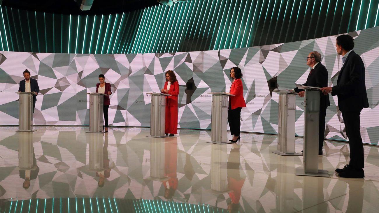 Momento del debate a seis en Telemadrid