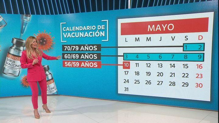 Madrid empezará a vacunar a personas de entre 56 y 59 años a partir del 10 de mayo