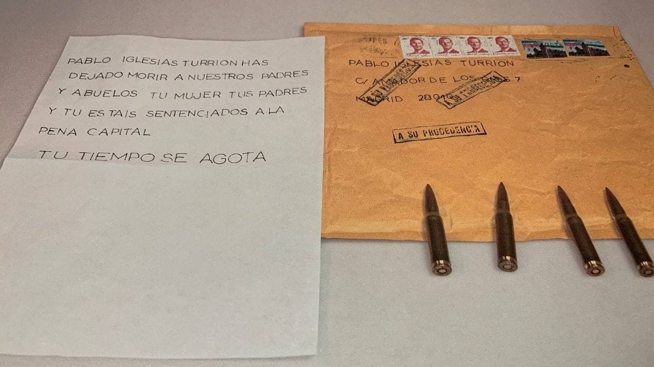 Carta amenazante enviada a Pablo Iglesias