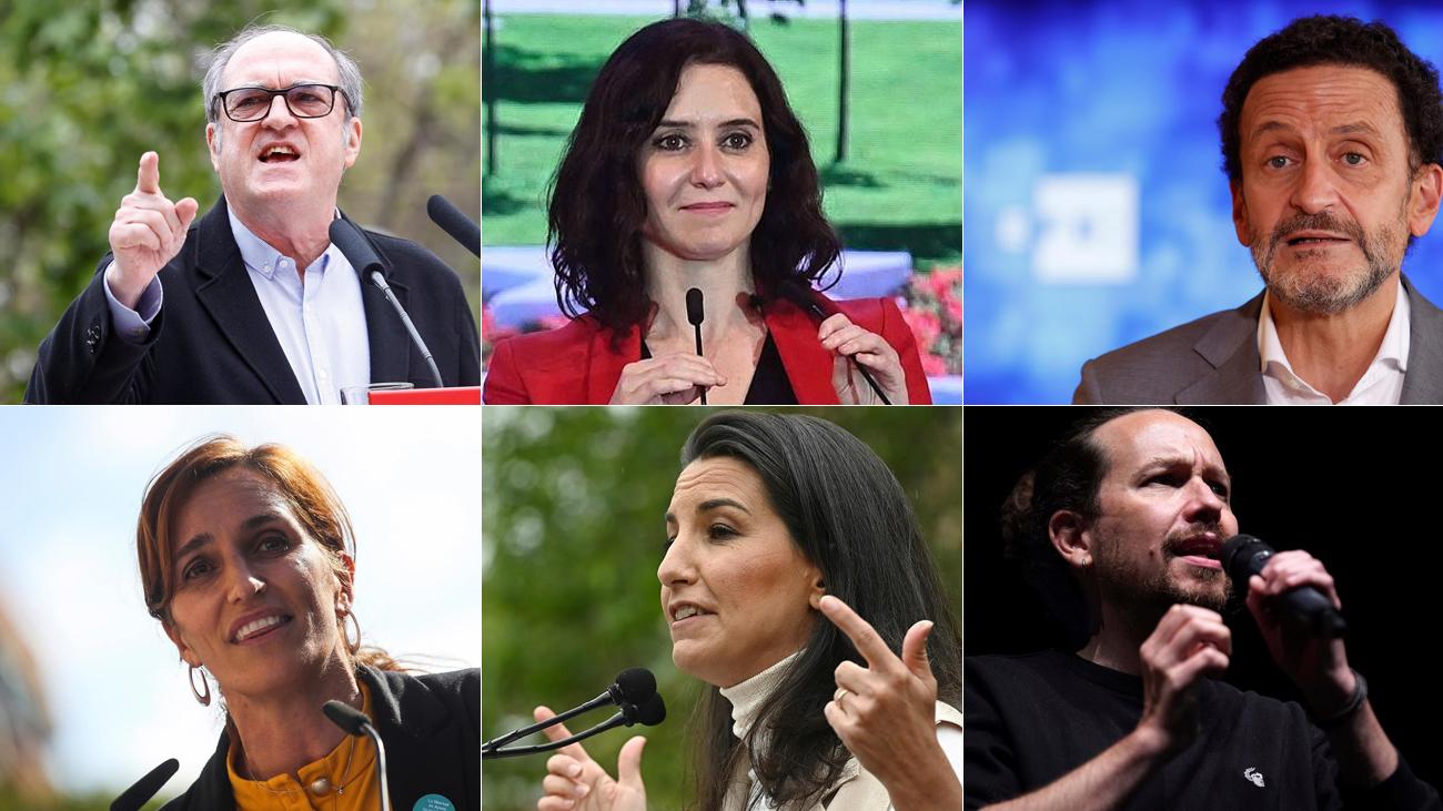 Los seis principales candidatos en las elecciones del 4M en Madrid