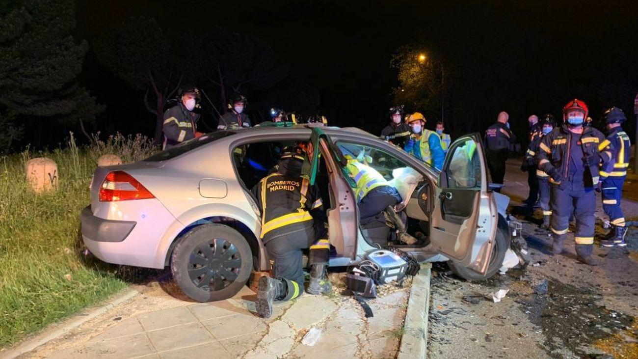 Imagen de uno de los coches del accidente de Vallecas