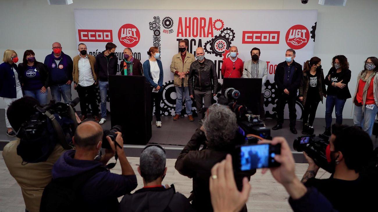 Rueda de prensa sindicatos antes de la manifestación por el Primero de Mayo