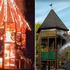 Un espectacular incendio arrasa un parque infantil de Orcasitas