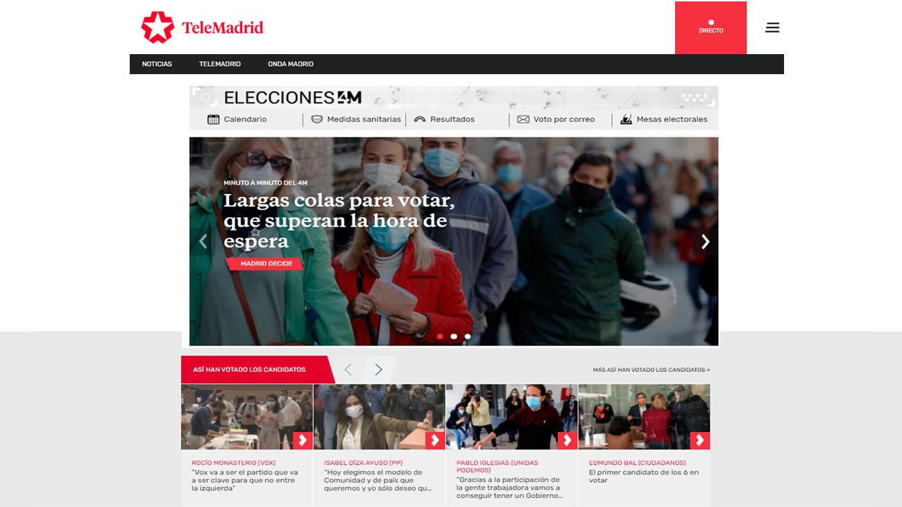 Página web de Telemadrid en las elecciones del 4 de mayo