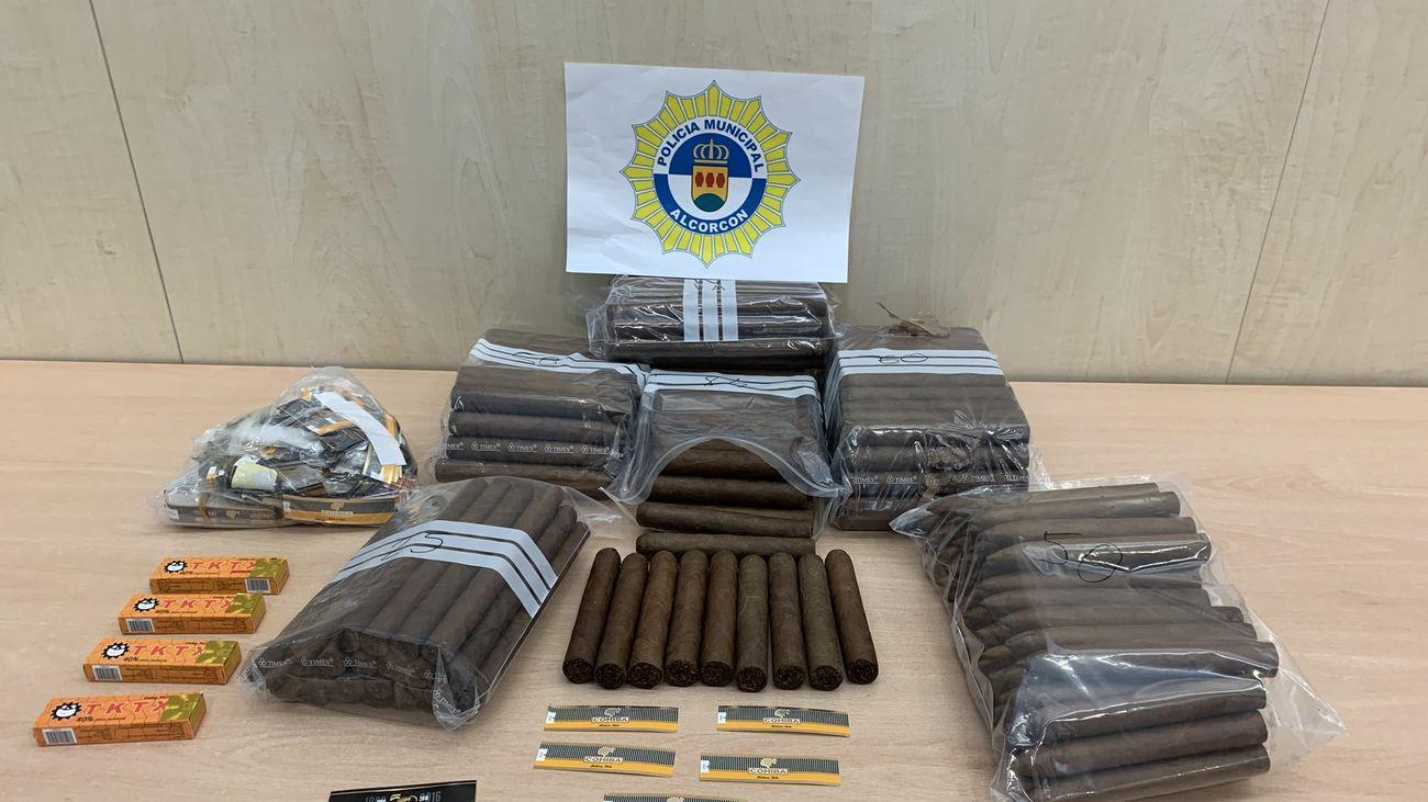 Remesa de puros intervenidos por la Policía de Alcorcón