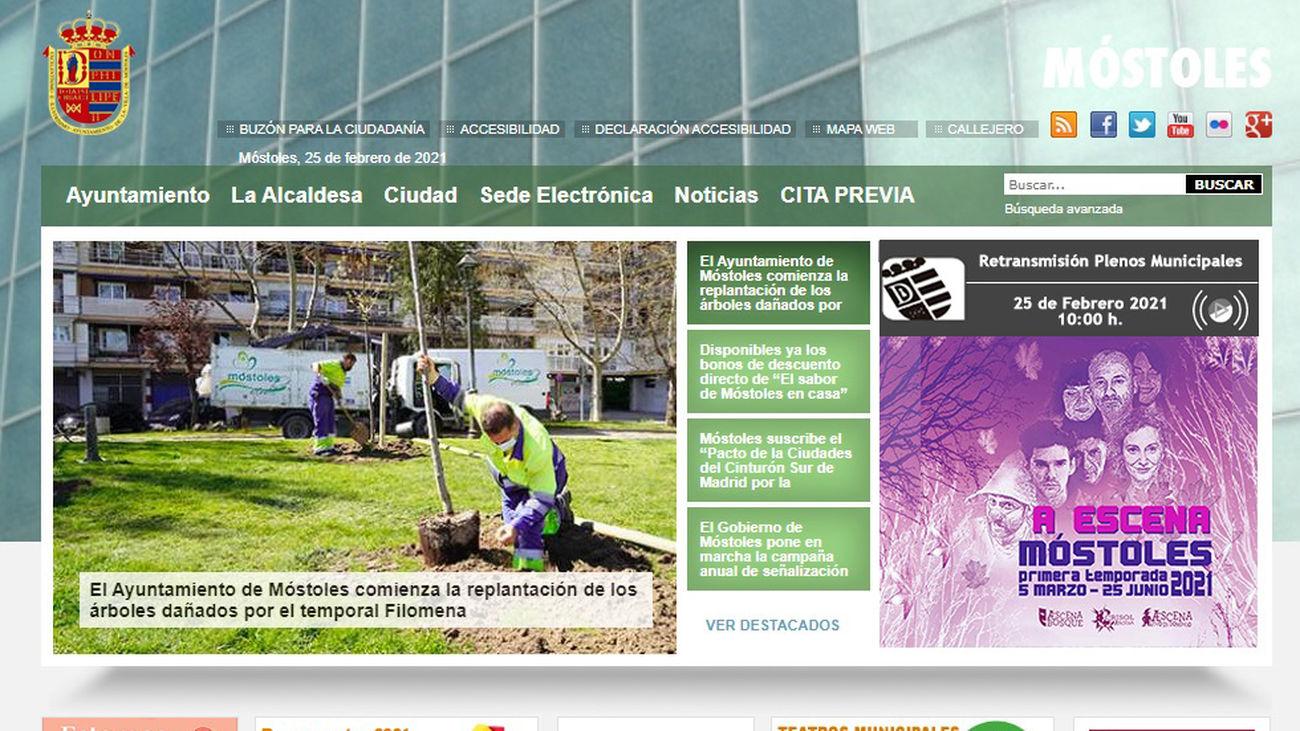La web del Ayuntamiento de Móstoles, en una imagen de archivo