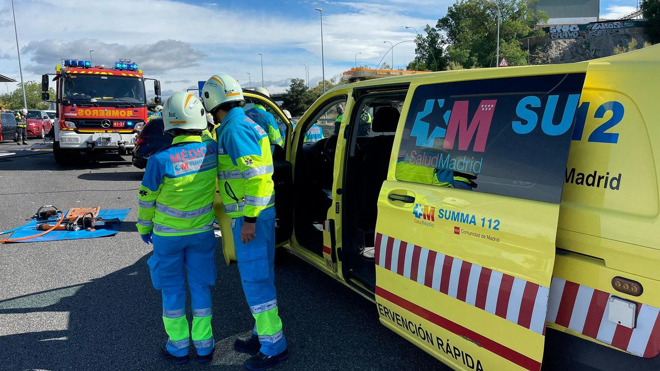 Servicios de emergencias en el lugar del accidente