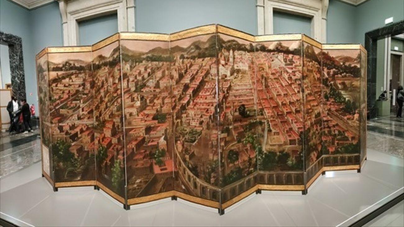 """La obra """"Biombo de la Conquista de México y La muy noble y leal ciudad de México"""", en el Museo del Prado"""