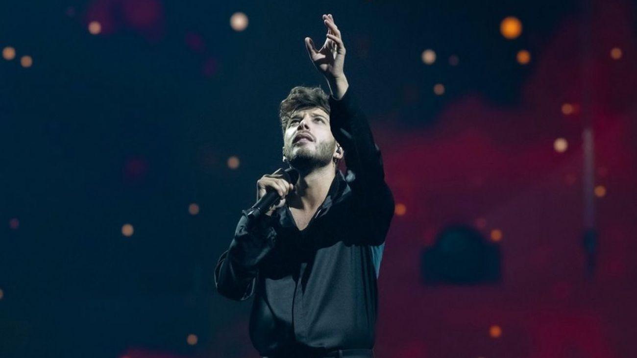 Eurovisión en Onda Madrid, con Blas Cantó y los representantes de Francia, Suiza, Rumania y Bulgaria