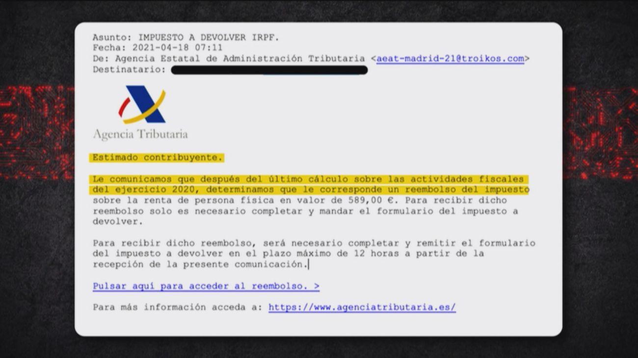Cuidado con la supuesta estafa de la declaración de la renta que llega a través del email
