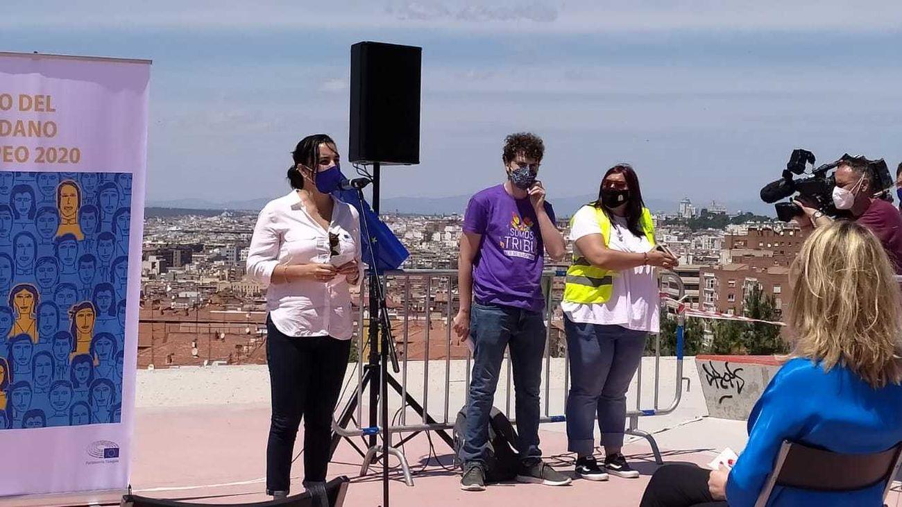 Intervención de los portavoces de 'Somos Tribu Vallekas' al recoger el Premio Ciudadano Europeo 2020