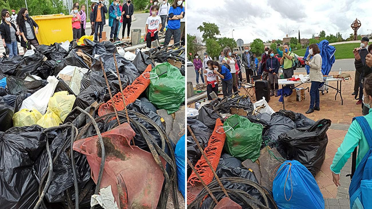 Montones de basuras retirados del Arroyo Valcarrizo de Tres Cantos por voluntarios
