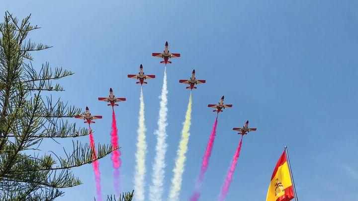 La Patrulla Águila ya ensaya en Madrid el homenaje del sábado a las Fuerzas Armadas