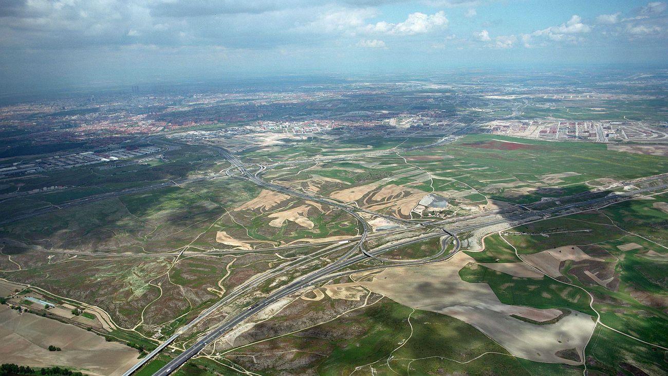 Vista aérea de los terrenos de Valdecarros en Villa de Vallecas