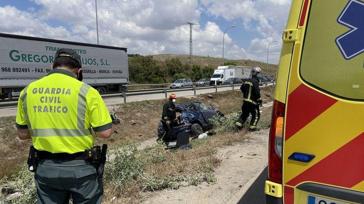 Herida grave una mujer en un aparatoso accidente en la M50 a la altura de Getafe