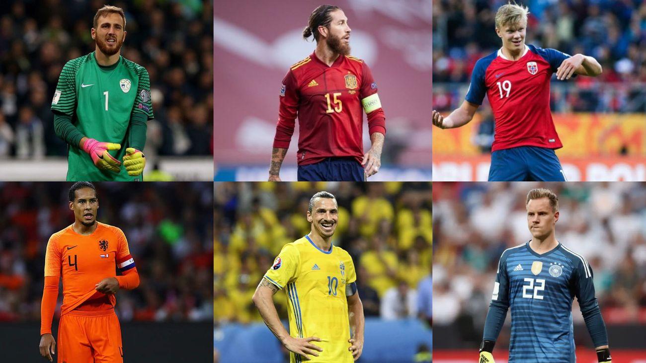 Sergio Ramos, Oblak, Haaland, Ter Stegen, Ibrahimovic y Van Dijk