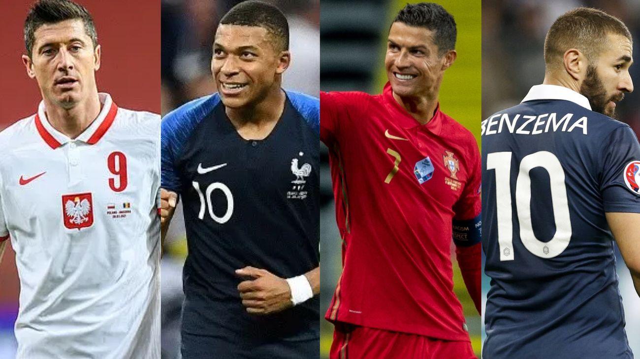 Lewandowski, Mbappe, Cristiano Ronaldo y Benzema