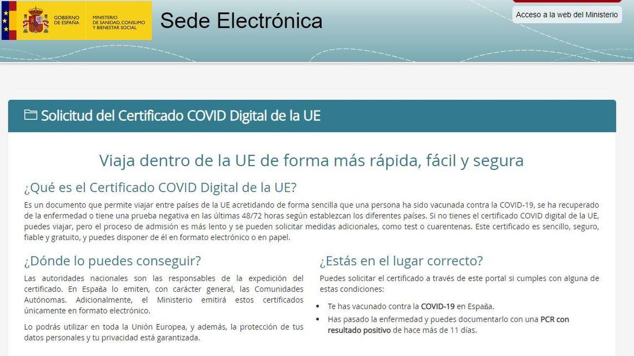 Web de Sanidad para conseguir el Pasaporte Covid
