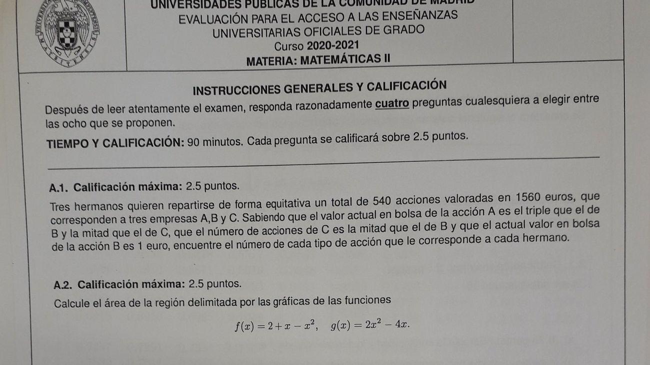 El examen de Matemáticas en Madrid que ha hecho llorar a muchos estudiantes de la EvAU