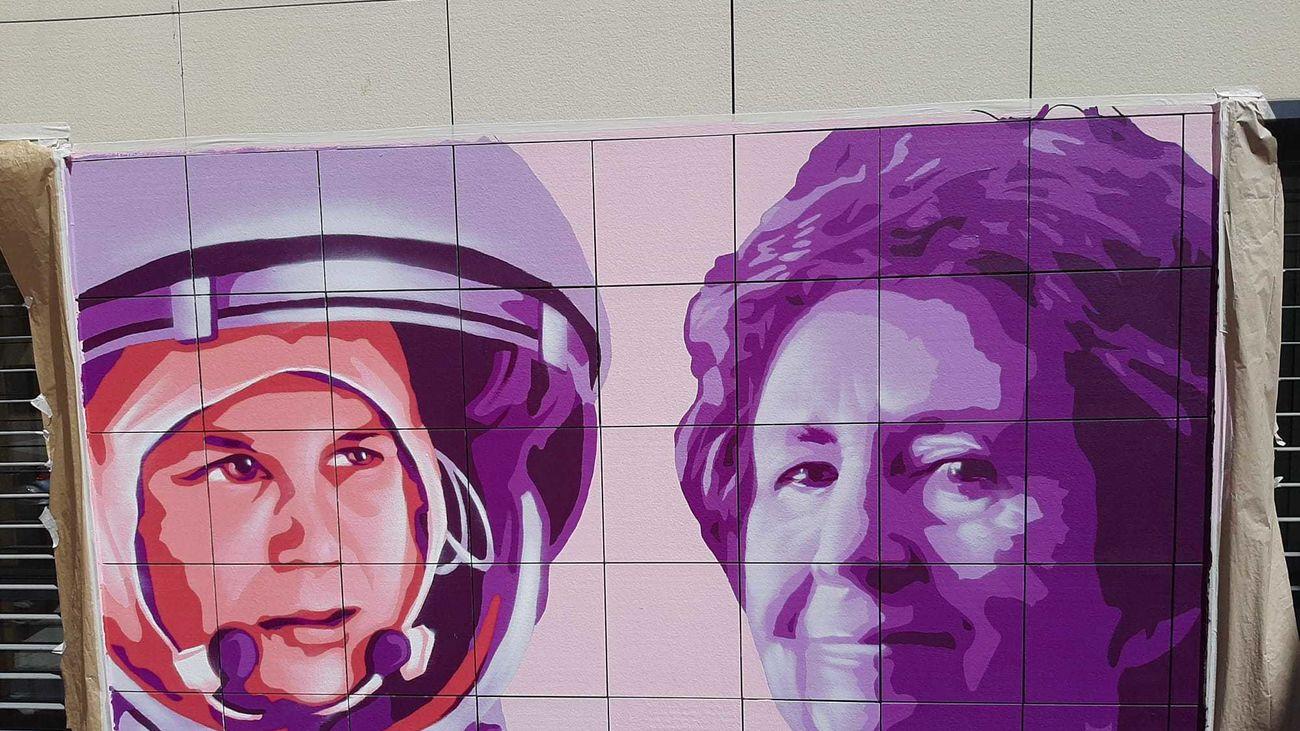 Parte del mural feminista creado en San Sebastián de los Reyes