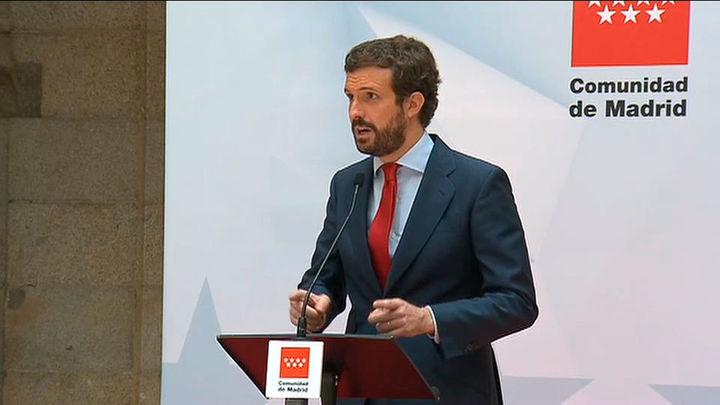 """Casado critica que Sánchez anuncie fin de las mascarillas por """"rédito electoral"""""""