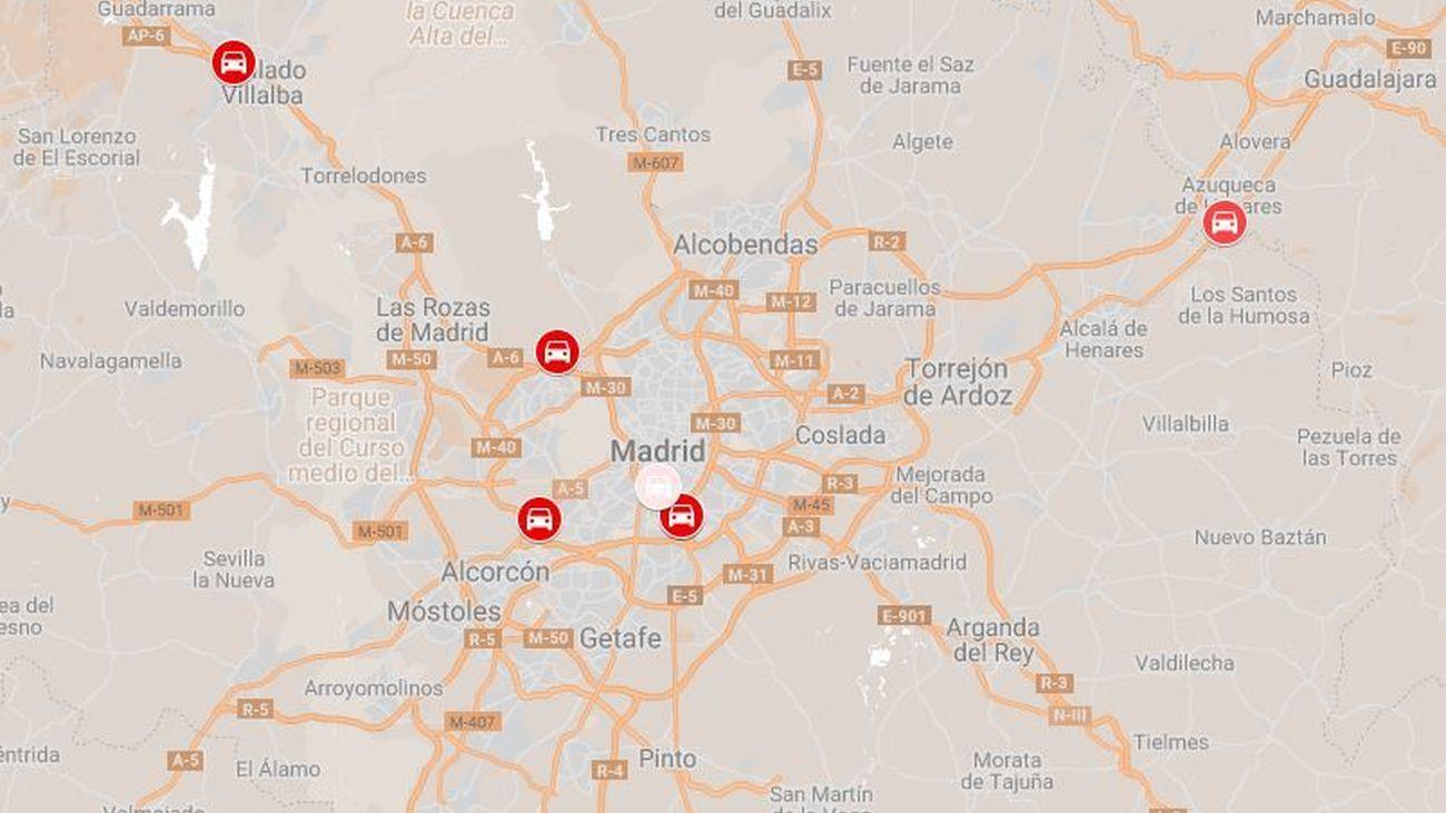 Ubicación de los radares más activos de Madrid
