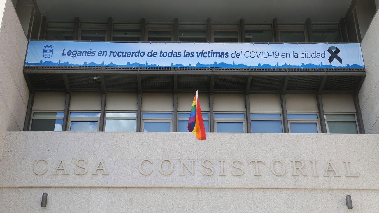 Fachada del Ayuntamiento de Leganés este viernes
